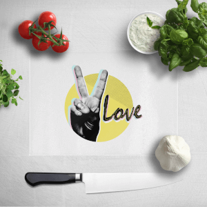 Peace Love With Circular Background Chopping Board