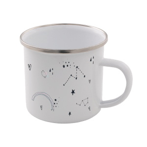 Astrology Print Enamel Mug – White