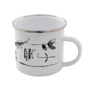 Fishing Enamel Mug – White