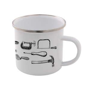 Tools Enamel Mug – White