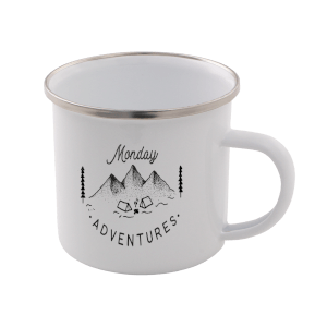 Monday Adventure Enamel Mug – White