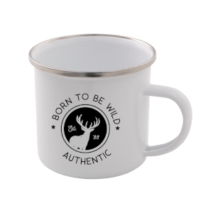 Born To Be Wild Enamel Mug – White