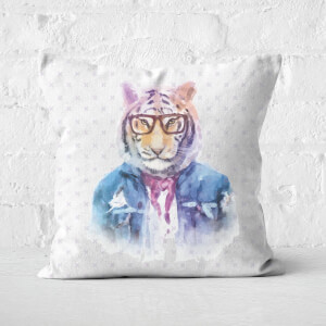 Hipster Tiger Square Cushion