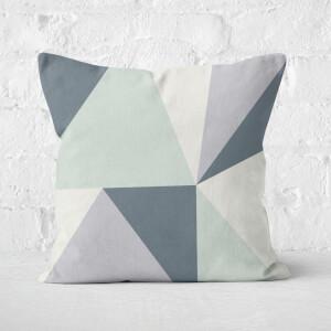 Grey Geometric Shapes Square Cushion