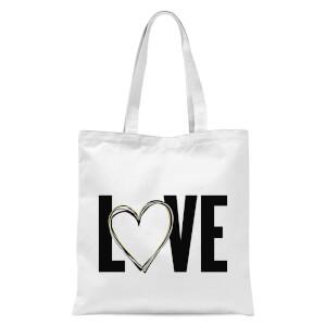 Love Heart Tote Bag - White