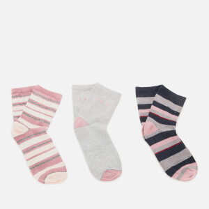Ted Baker Women's Melpa Scripted Branded Triple Socks - Light Grey