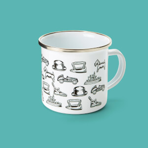 Monopoly Pieces Enamel Mug White