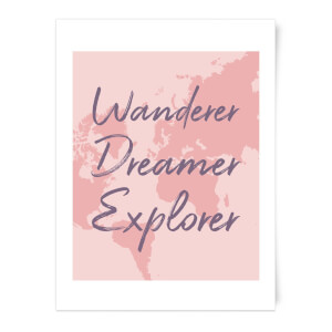 Wander Dreamer Explorer With Map Background Art Print