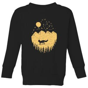 Moonlight Fox Adventure Kids' Sweatshirt - Black