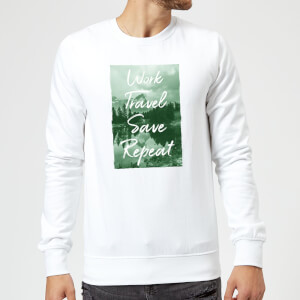 Work Travel Save Repeat Forest Photo Sweatshirt - White
