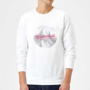 Mountain Wonderlust Adventure Is Out There Sweatshirt - White