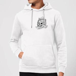 Explorer Skull Pocket Print Hoodie - White