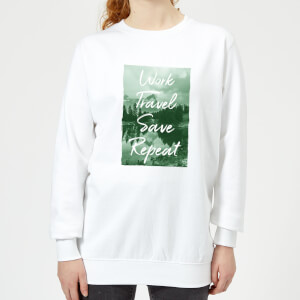 Work Travel Save Repeat Forest Photo Women's Sweatshirt - White