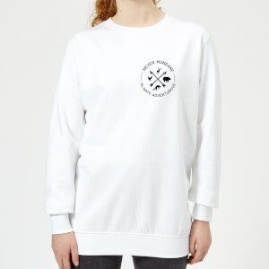 Never Mundane Always Adventurous Pocket Print Women's Sweatshirt - White
