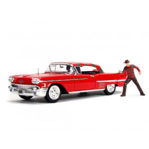 Jada Die Cast 1:24 1958 Cadillac with Freddy Kruger Figure