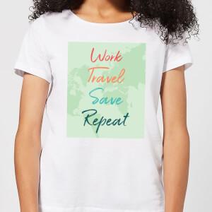 Work Travel Save Repeat Background Women's T-Shirt - White