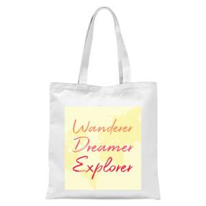 Wander Dreamer Explorer Background Tote Bag - White