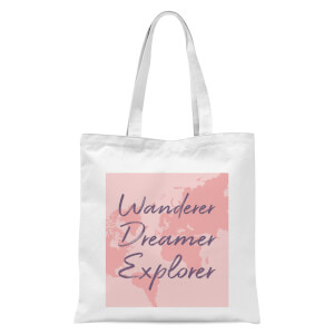 Wander Dreamer Explorer With Map Background Tote Bag - White