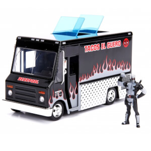 Jada Die Cast Marvel 1:24 Taco Truck and X-Force Deadpool Figure