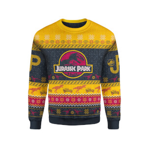 Zavvi Exclusive Jurassic Park Xmas Knitted Jumper - Yellow