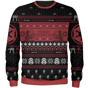 Zavvi Exclusive Star Wars Merry Sithmas Christmas Knitted Jumper - Black