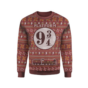 Zavvi Exclusive Harry Potter Platform 9 3/4 Xmas Knitted Jumper - Burgundy