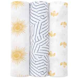 aden + anais Silky Soft Swaddles - Golden Sun (3 Pack)