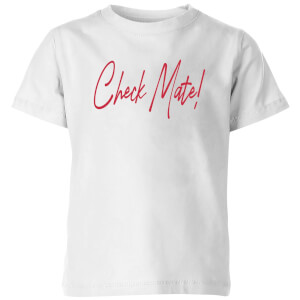 Check Mate! Script Text Kids' T-Shirt - White