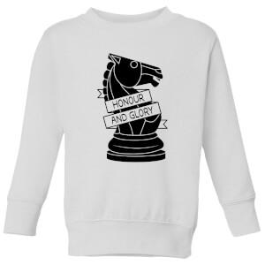 Knight Chess Piece Honour And Glory Kids' Sweatshirt - White
