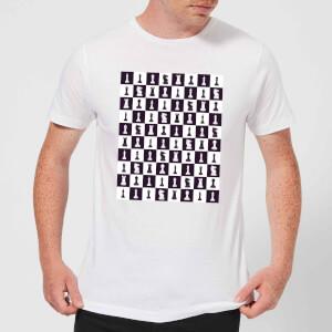 Chess Board Repeat Pattern Monochrome Men's T-Shirt - White