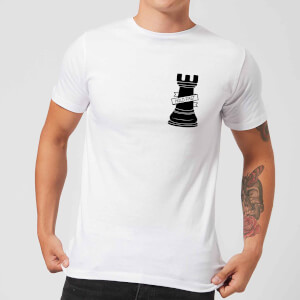Rook Chess Piece Hold Fast Pocket Print Men's T-Shirt - White