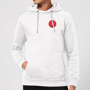 Red Checker Pocket Print Hoodie - White