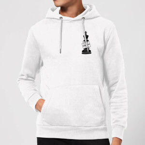 King Chess Piece Check Mate Pocket Print Hoodie - White