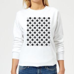 Monochrome Checkers Pattern Women's Sweatshirt - White
