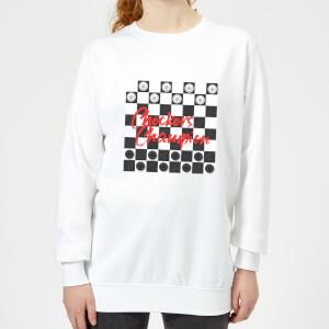 Checkers Board Champion Women's Sweatshirt - White