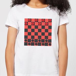 Red Checkers Board  Women's T-Shirt - White