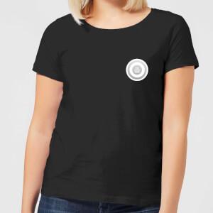 White Checker Pocket Print Women's T-Shirt - Black