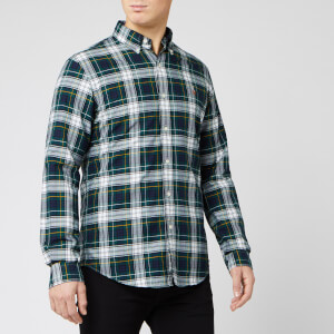 Polo Ralph Lauren Men's Tartan Oxford Cotton Check Shirt - Evergreen/Zest