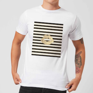 Lipstick Kiss Mark Striped Background Men's T-Shirt - White