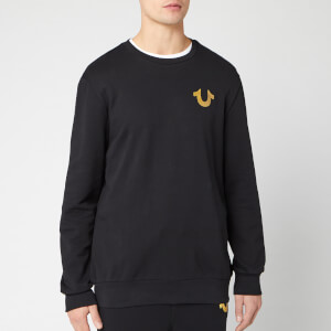 True Religion Men's Metallic Double Puff Crew Sweatshirt - Black/Gold