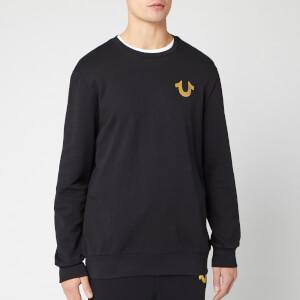 True Religion Men's Metallic Double Puff Crew Sweatshirt - Black/Gold