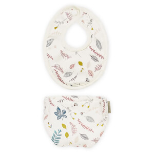 Cam Cam Doll's Bib and Diaper - Pressed Leaves Rose