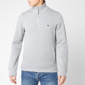 Lacoste Men's Embossed Half Zip Sweatshirt - Silver Chine