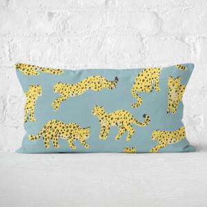 Blue Cheetah Print Rectangular Cushion