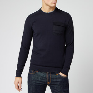 Ted Baker Men's Saysay Crew Neck Sweatshirt with Patch Pocket - Navy