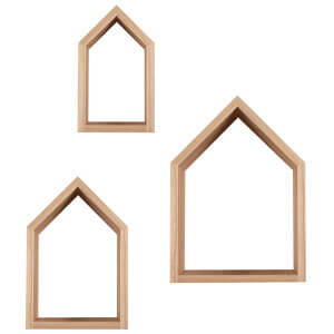 Snüz House Shaped Nursery Shelves - Natural (Set of 3)