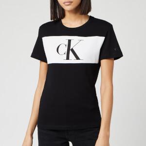 Calvin Klein Jeans Women's Blocking Monogram Ck Short Sleeve T-Shirt - CK Black