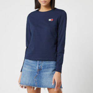 Tommy Jeans Women's Tommy Badge Long Sleeve Top - Black Iris