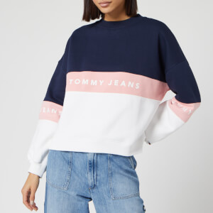 Tommy Jeans Women's Colourblock Crew Neck Sweatshirt - Classic White/Multi