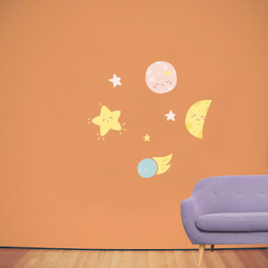 Cute Baby Space Wall Art Sticker Pack